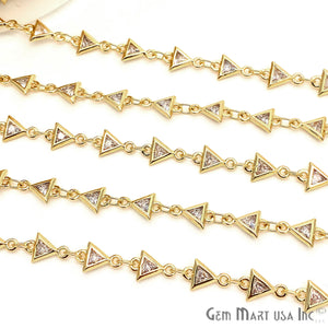 White Zircon Triangle Shape 5x5mm Gold Plated Continuous Connector Chain - GemMartUSA