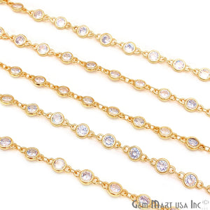 White Zircon Round Shape 5.5mm Gold Plated Continuous Connector Chain - GemMartUSA