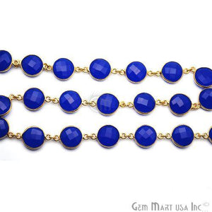 Dark Blue Chalcedony Round 12mm Continuous Connector Chain