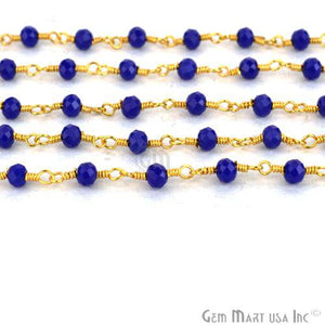 Dark Blue Chalcedony 3-3.5mm Gold Plated Wire Wrapped Beads Rosary Chain