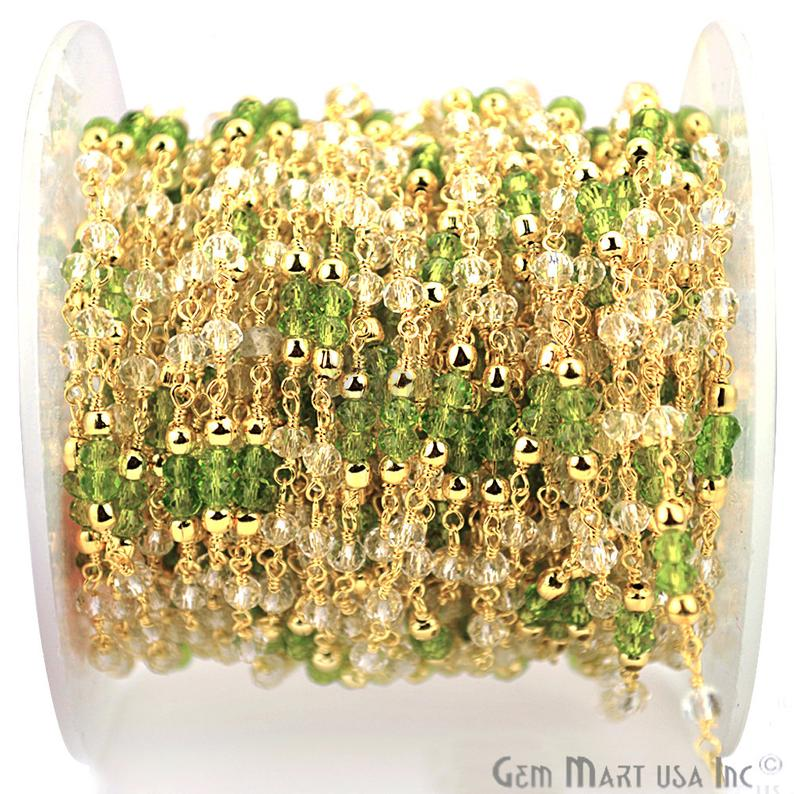 Crystal & Peridot Zircon Beads Gold Wire Wrapped Rosary Chain