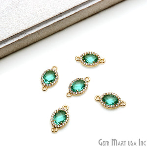 Oval 7x5mm Gold Prong Setting Cubic Zircon Pave Connectors (Pick Stone) - GemMartUSA