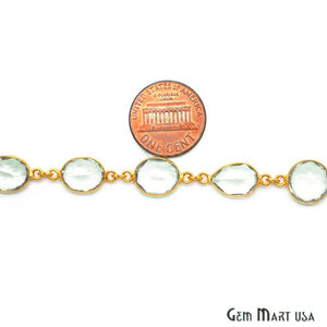 Green Amethyst 10mm Gold Bezel Continuous Connector Chain - GemMartUSA
