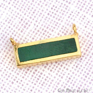 22k Gold Plated 15x7mm Rectangle Shape Double Bail Bar Pendant (50022) - GemMartUSA