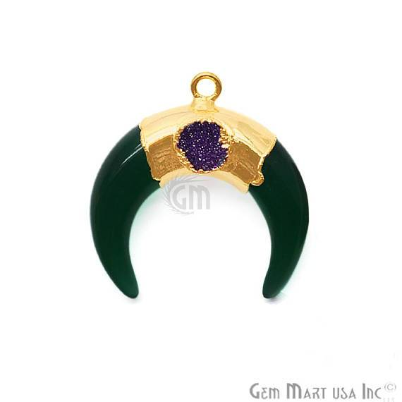 Gold Plated Single Bail Horn Pendant Multi Stone Pendant (50029)
