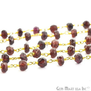 Garnet 5-6mm Gold Plated Wire Wrapped Beads Rosary Chain