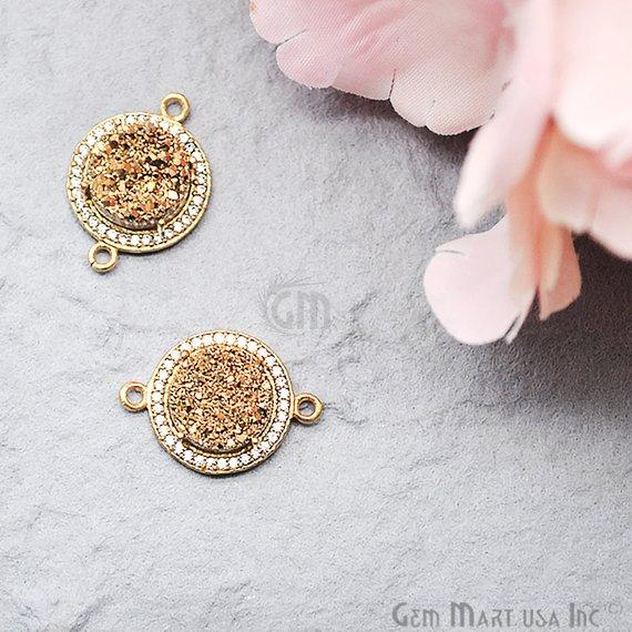 Cubic Zircon Pave Druzy 10mm Round Shape Gold Plated Double Bail Connector (Pick Your Color) (40005)