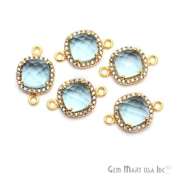 Gemstone With Cubic Zircon Pave 8mm Cushion Gold Plated Double Bail Connector (Choose Gemstone)