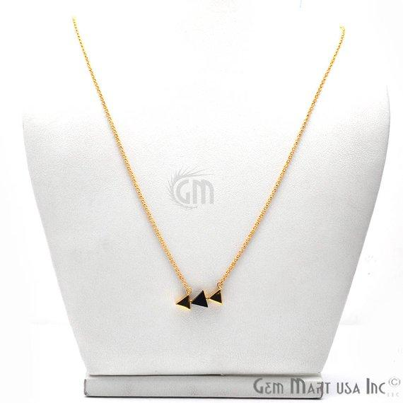 Triangle Shape Gemstone Gold Plated Dangle Pendant 18 Inch Long Necklace Chain (Pick your Gemstone)