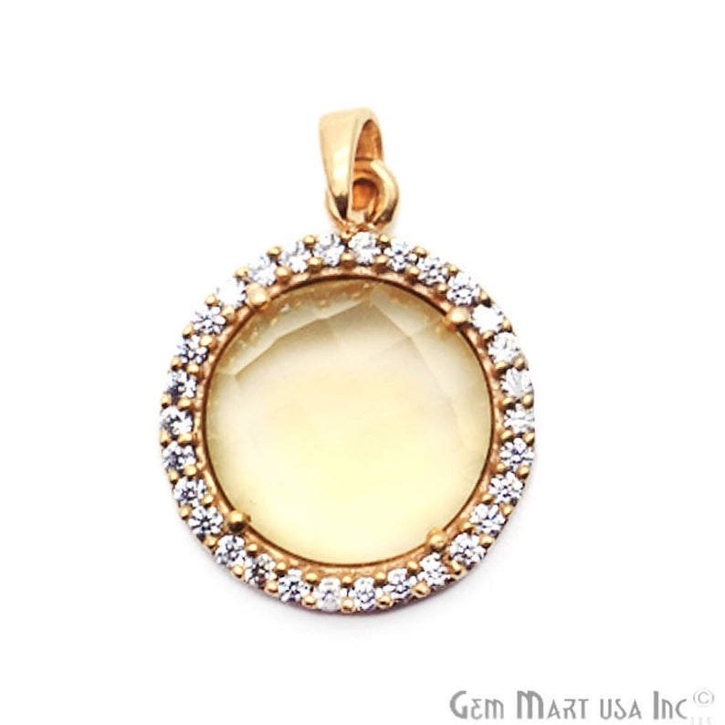 Citrine 12mm Round Gold Plated Gemstone Pendant