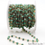 Emerald Jade 4mm Faceted Beads Gold Plated Wire Wrapped Rosary Chain