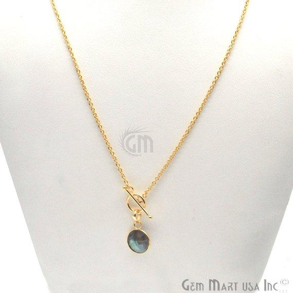 gemstone toggle clasp pendant necklace