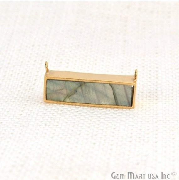 Gemstone Gold Plated 22x9mm Rectangle Shape Double Bail Bar Pendant