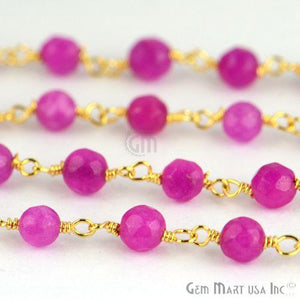 Lavender Jade 4mm Beads Gold Plated Wire Wrapped Rosary Chain