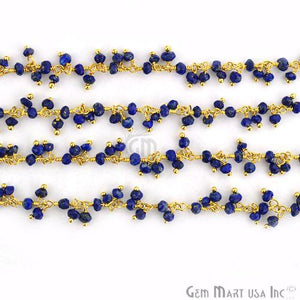 Lapis Lazuli Faceted Beads Gold Wire Wrapped Cluster Dangle Chain