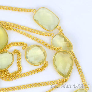 Lemon Topaz Mix Shape 15mm Gold Plated Bezel Connector Chain