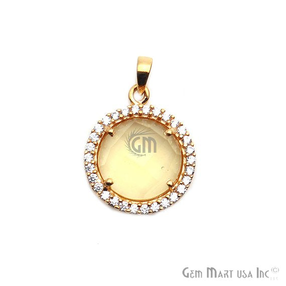 Gemstone With Cubic Zircon 12mm Single Bail Gold Plated Necklace Pendant