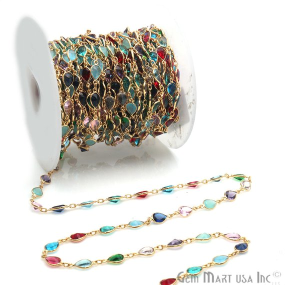 Multi Color Gold Plated Pear Shape 8x6mm Bezel Link Continuous Connector Chain
