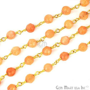 Sunstone Jade 4mm Beads Gold Plated Wire Wrapped Rosary Chain