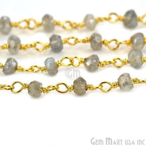 Mistique Labradorite 3-3.5mm Gold Plated Wire Wrapped Rosary Chain