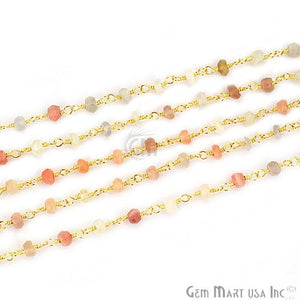 Multi Moonstone Gold Plated Wire Wrapped Rosary Chain