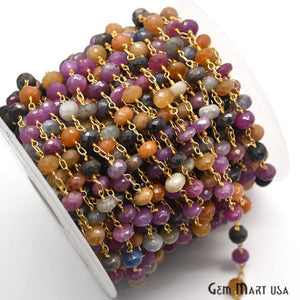 Multi-Color Beads Chain, Gold Plated Wire Wrapped Rosary Chain - GemMartUSA
