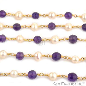 Amethyst With Pearl Gold Plated Wire Wrapped Beads Rosary Chain