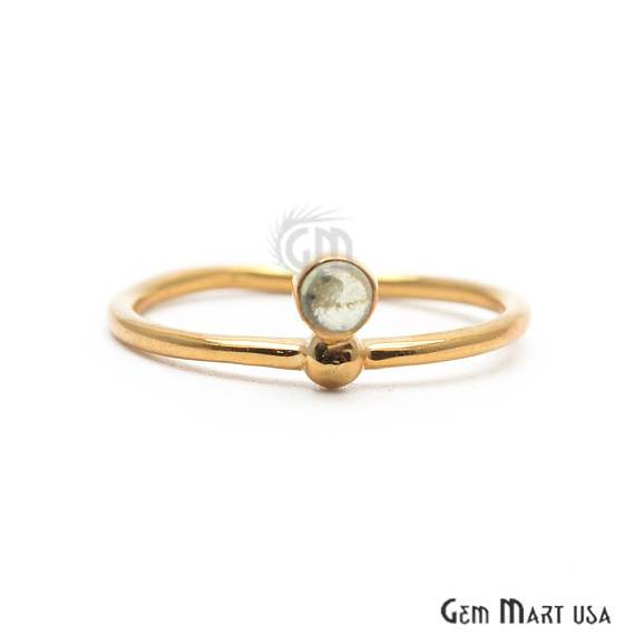 Gold Plated 2mm Round Gemstone Stackable Promise Ring - Ring Size 7US (12010)