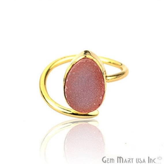 Druzy Gemstone Gold Plated Adjustable Fashion Jewelry Ring (12002)