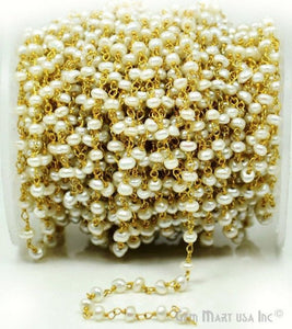 Pearl 4mm Gold Plated Faceted Rondelle Beads Rosary Chain