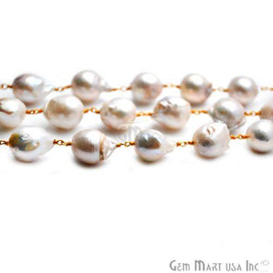 Baroque Pearl Oval Gold Plated Wire Wrapped Beads Chain