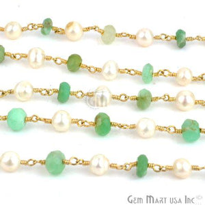 Chrysoprase 5-6mm With Pearl 4-5mm Gold Plated Wire Wrapped Rosary Chain