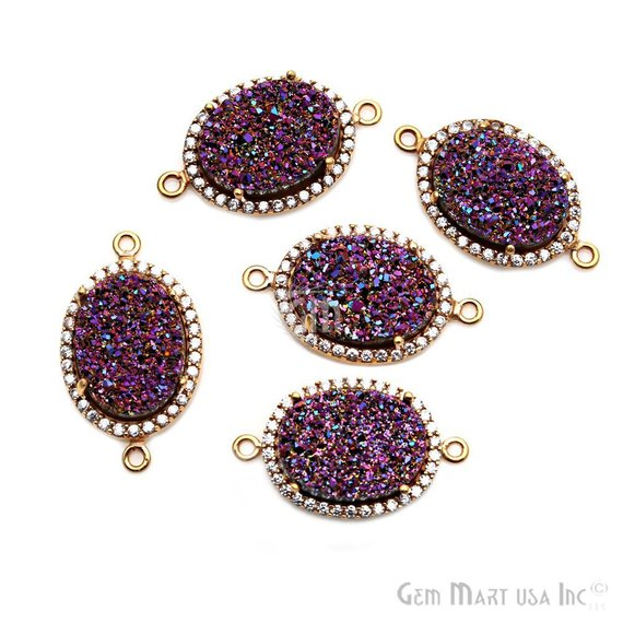 Druzy Cubic Zircon Pave 12x16mm Oval Bezel Gemstone Connector (Pick Your Color)