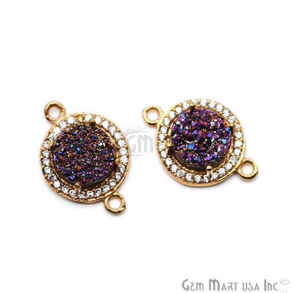 Cubic Zircon Pave Druzy 8mm Round Shape Gold Plated Double Bail Connector (Pick Your Color) (40008)