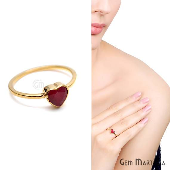 Gold Plated Heart Shape Single Gemstone Solitaire Ring (GP-12009)
