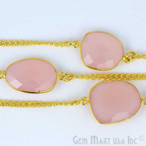 Rose Chalcedony 15mm Gold Plated Bezel Link Connector Chain - GemMartUSA
