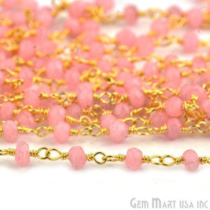 Rose Chalcedony 3-3.5mm Gold Plated Wire Wrapped Rosary Chain
