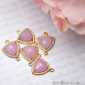 Rose Chalcedony 10mm Trillion Pave Gold Plated Gemstone Connector - GemMartUSA