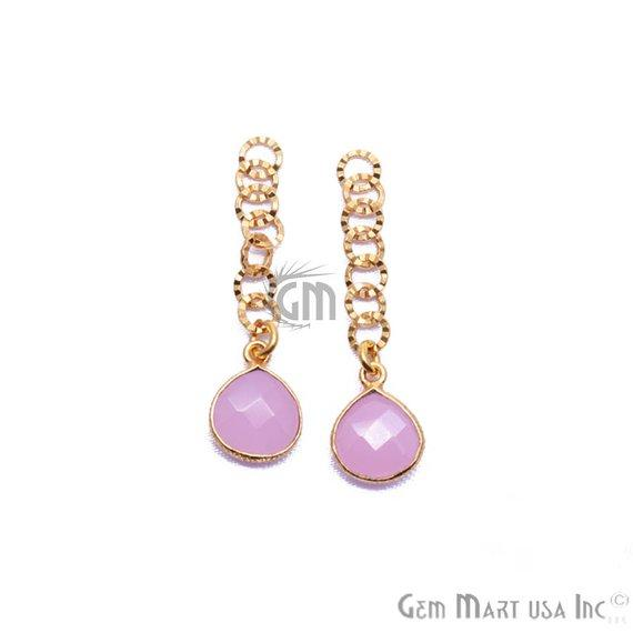 Heart Shape 10mm Gemstone Dangle Earrings Supply (Pick your Gemstone, Plating) (90017-1)