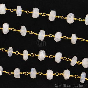 Rainbow Moonstone 5-6mm Gold Plated Wire Wrapped Rosary Chain