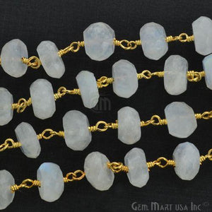 Rainbow moonstone 8-9mm Gold Plated Wire Wrapped Rosary Chain