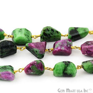 Ruby Zoisite 10-15mm Faceted Beads Gold Wire Wrapped Rosary Chain