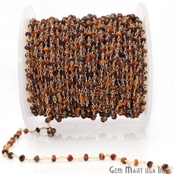 Tiger Eye Gemstone Beads 3-3.5mm Gold Wire Wrapped Rosary Chain