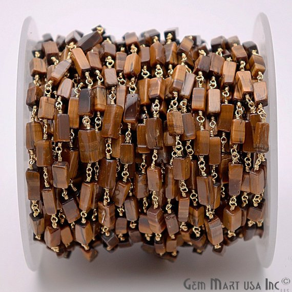 Tiger Eye Gemstone Beads Gold Plated Wire Wrapped Bead Fancy Rosary Chain