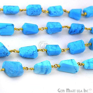 Turquoise 10mm Gold Plated Wire Wrapped Beads Rosary Chain