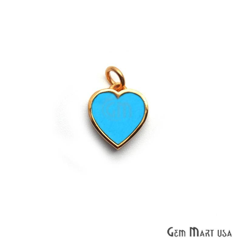 Turquoise Heart 12mm Gold Plated Love Pendant