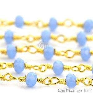 Tanzanite Gold Plated Wire Wrapped Beads Rosary Chain