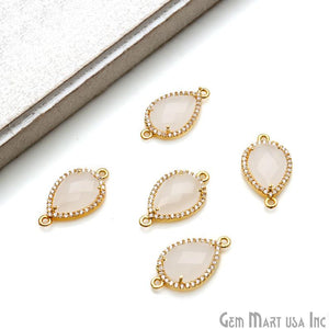 Pear 10x12mm Gold Prong Setting Cubic Zircon Pave Connector (Pick Stone) - GemMartUSA