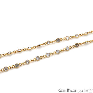 White Zircon 4mm Round Gold Bezel Continuous Connector Chain - GemMartUSA