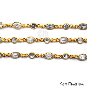White Zircon Round And Oval Gold Bezel Continuous Connector Chain - GemMartUSA